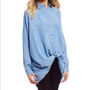 Chelsea & Violet Pearl Embellished button down